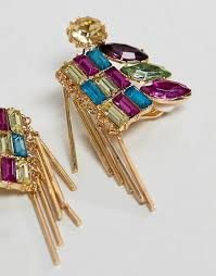 ASOS DESIGN earrings with multicolour jewels and stick design in gold 2
