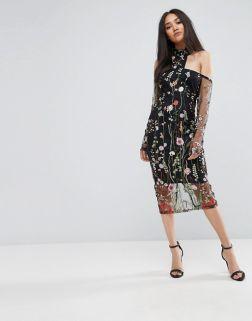 AX Paris T-Bar Long Sleeve Embroidered Floral Choker Dress 1