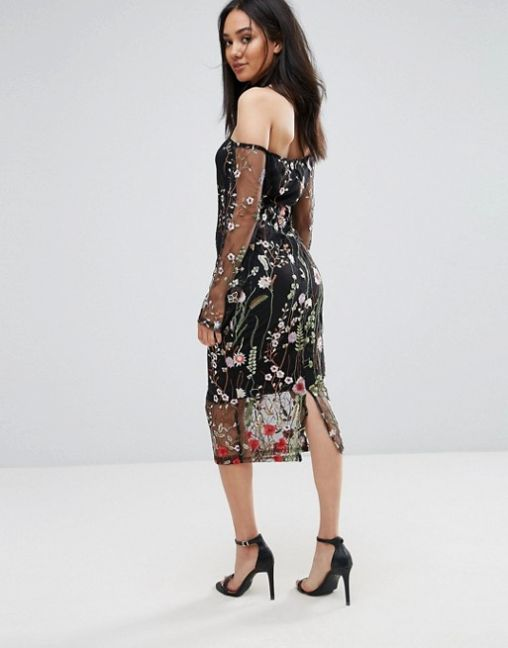 AX Paris T-Bar Long Sleeve Embroidered Floral Choker Dress 2