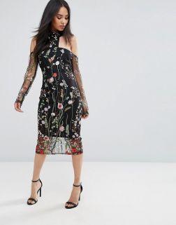 AX Paris T-Bar Long Sleeve Embroidered Floral Choker Dress 3