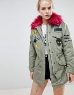Bershka Badge And Patch Detail Parka 1