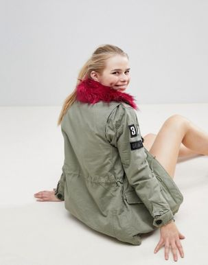 Bershka Badge And Patch Detail Parka 2