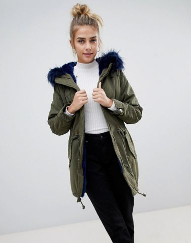 Bershka Parka Coat With Faux Fur Hood And Trim 1