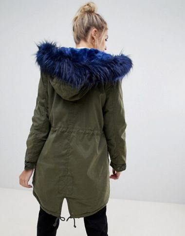 Bershka Parka Coat With Faux Fur Hood And Trim 2