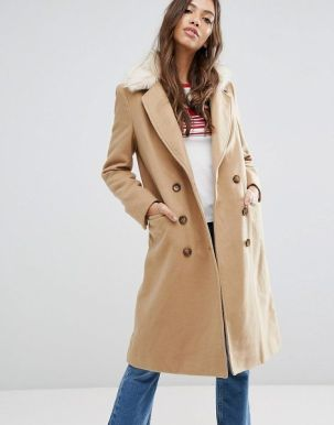 Brave Soul Ashwich Double Breasted Coat With Faux Fur Collar 1