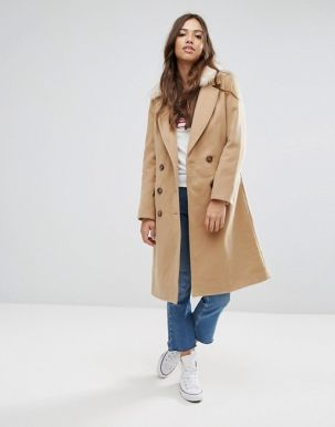Brave Soul Ashwich Double Breasted Coat With Faux Fur Collar 3