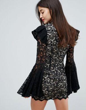 Club L Extreme Sleeve Contrast Lace Mini Dress 2