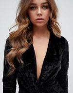 Missguided velvet plunge mini dress in black 1