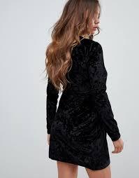 Missguided velvet plunge mini dress in black 4
