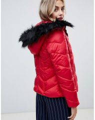 New Look chevron padded jacket with faux fur trim 2