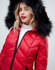 New Look chevron padded jacket with faux fur trim 3