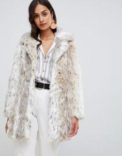 New Look faux fur snow leopard coat 1