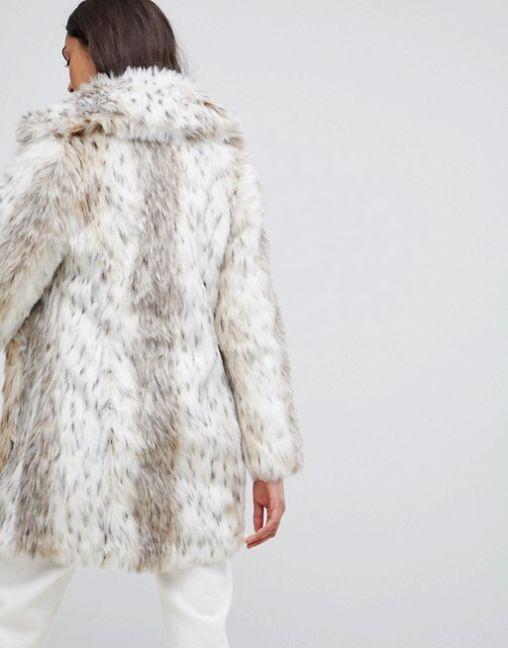 New Look faux fur snow leopard coat 2