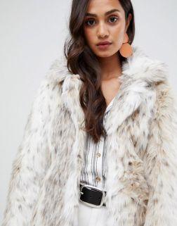 New Look faux fur snow leopard coat 3