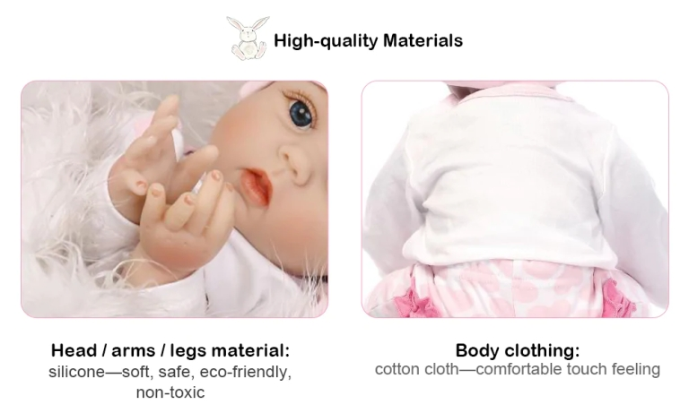 Adorable Simulation Lifelike Newborn Silicone Baby Doll - COLORMIX3