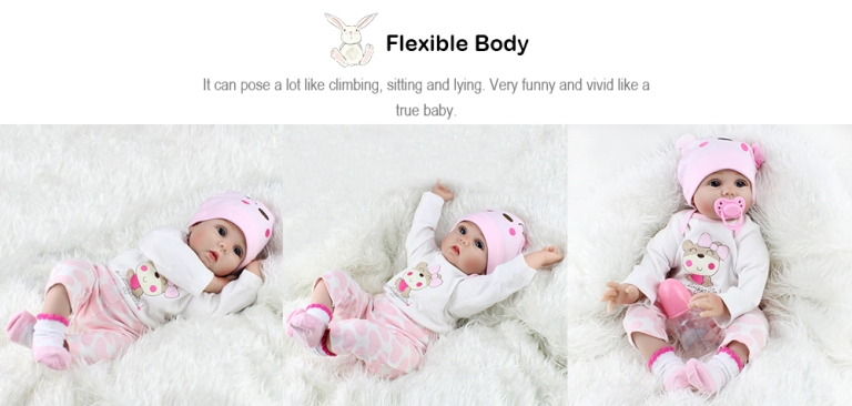 Adorable Simulation Lifelike Newborn Silicone Baby Doll - COLORMIX4