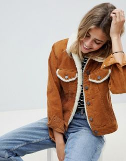 ASOS DESIGN cord jacket with borg collar in rust
