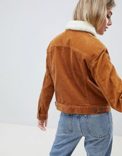ASOS DESIGN cord jacket with borg collar in rust1