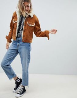 ASOS DESIGN cord jacket with borg collar in rust2