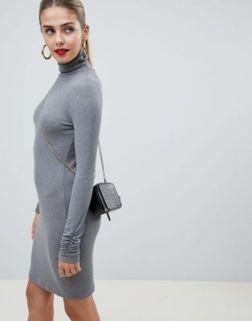 ASOS DESIGN high neck rib mini dress with long sleeves 2