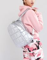 ASOS DESIGN quilted metallic backpack 2