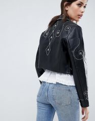 ASOS DESIGN studded pu zip through