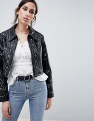 ASOS DESIGN studded pu zip through1