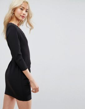 ASOS Sexy Ruched Mini Dress With Shoulder Pads and Hardware Detail2