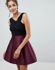 AX Paris Cross Front Dress With Contrast Skirt