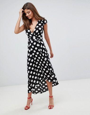 AX Paris polka dot wrap maxi dress