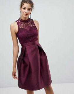AX Paris Skater Dress With Lace Detail1