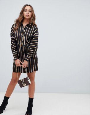 Boohoo tie waist shirt dress in black stripe 3