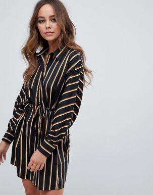 Boohoo tie waist shirt dress in black stripe
