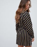 Boohoo tie waist shirt dress in black stripe2
