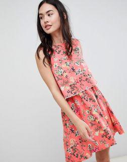 Brave Soul Celeste Double Layer Floral Dress with Pom Pom Trim 1