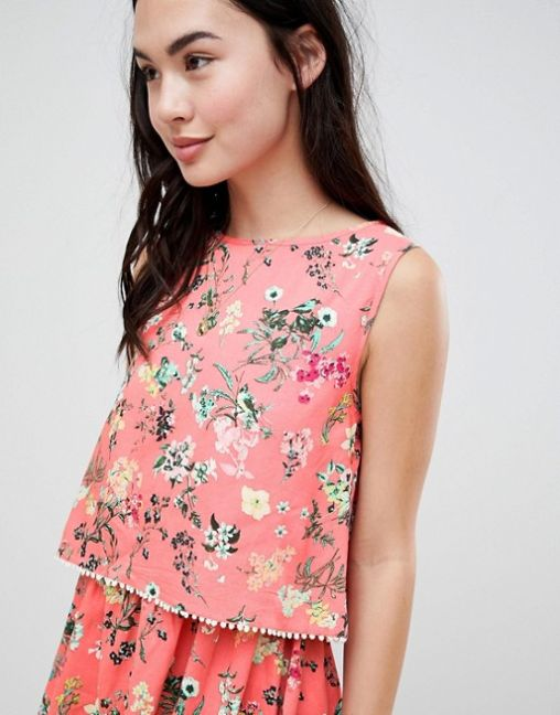 Brave Soul Celeste Double Layer Floral Dress with Pom Pom Trim 2