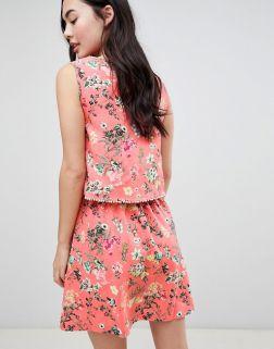 Brave Soul Celeste Double Layer Floral Dress with Pom Pom Trim