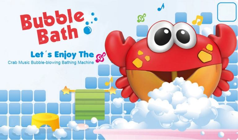 Crab Music Bubble-blowing Bathing Machine for Kids - FIRE ENGINE RED