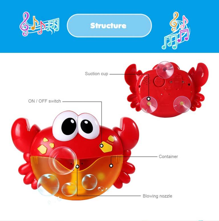 Crab Music Bubble-blowing Bathing Machine for Kids - FIRE ENGINE RED7