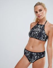 French Connection Copley Print High Neck Bikini Set