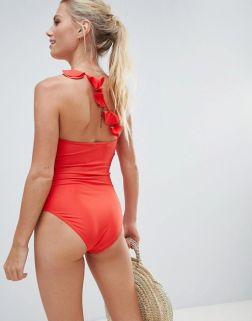 French Connection One Shoulder Ruffle Strap Swimsuit1