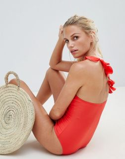 French Connection One Shoulder Ruffle Strap Swimsuit2