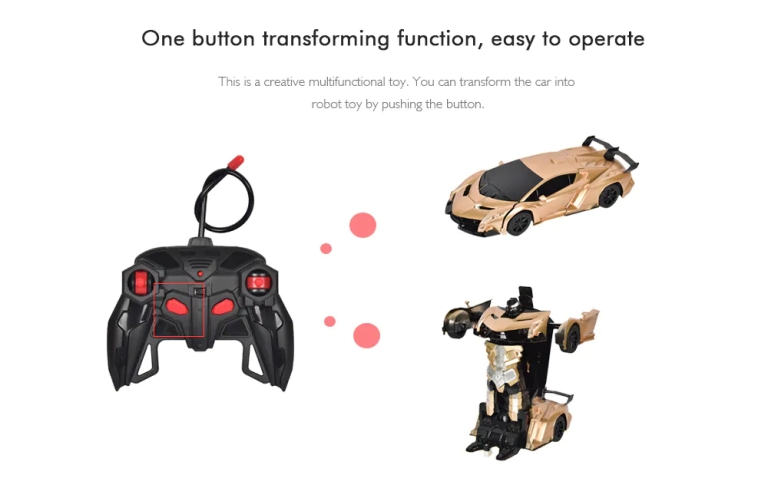 Gesture Sensing Remote Control Robot One Button Transformation Car Toy2