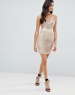 Girls on Film strappy bodycon dress with sequin detail 3