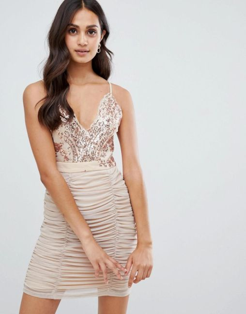 Girls on Film strappy bodycon dress with sequin detail