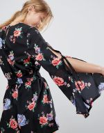Influence Floral Playsuit With Split Sleeve 2