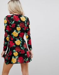 Missguided Petite Floral Wrap Over Tea Dress2