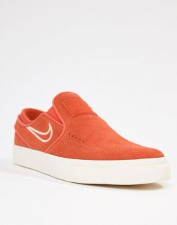Nike Sb Janoski Slip On Trainers In Orange 1