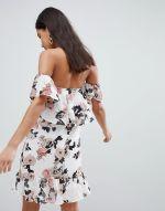 Parisian Off Shoulder Ruffle Mini Dress In Floral Print 3