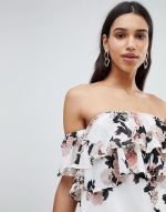 Parisian Off Shoulder Ruffle Mini Dress In Floral Print 4
